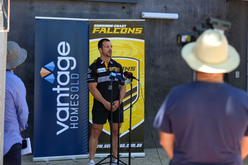 Jarrod Mullen speaks at the announcement of his signing with Sunshine Coast Falcons. Photo: Cameron Stallard / QRL
