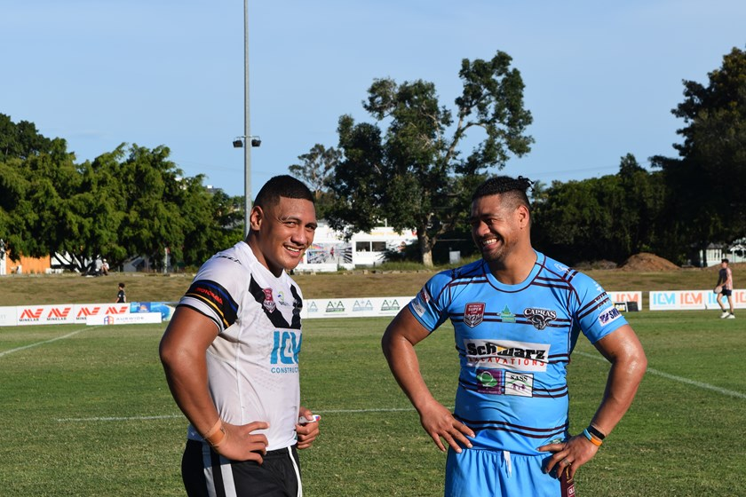 Pat Mago of the Souths Logan Magpies and Capras fullback Matthew Wright catch up after the game. Photo: QRL Media