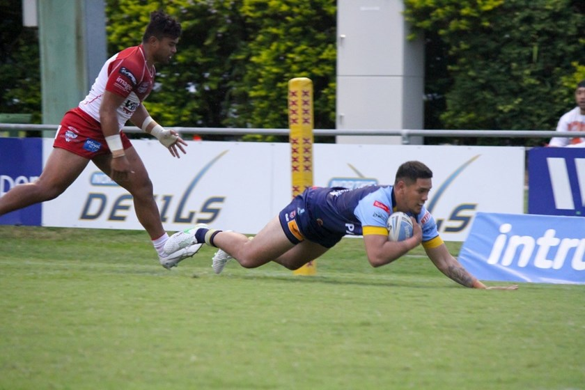 Rashaun Denny goes over for a try. Photo: Norths Devils Media