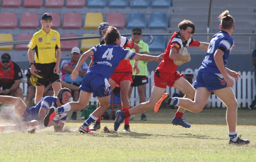 Wests' quiet achiever Brad Clarke evades Wallaroos defenders in a signature good all-round performance. Photo: supplied.