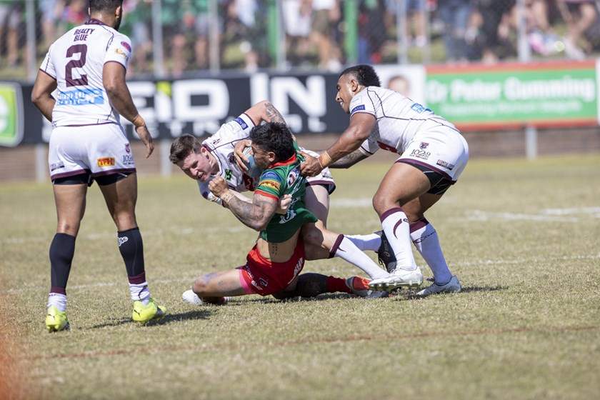 Some strong defence from bother sides on display. Photo: Jim O'Reilly / QRL
