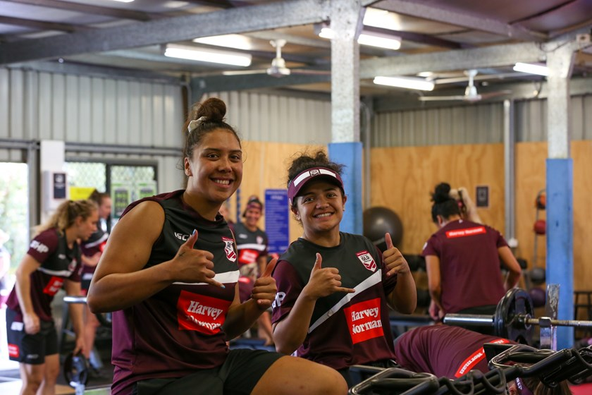 Shannon Mato and Chante Temara in the gym. Photo: Colleen Edwards / QRL