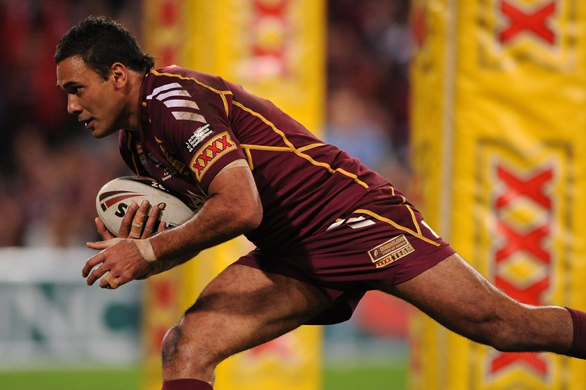 Justin Hodges in action for the Queensland Maroons in 2012. Photo: QRL Media