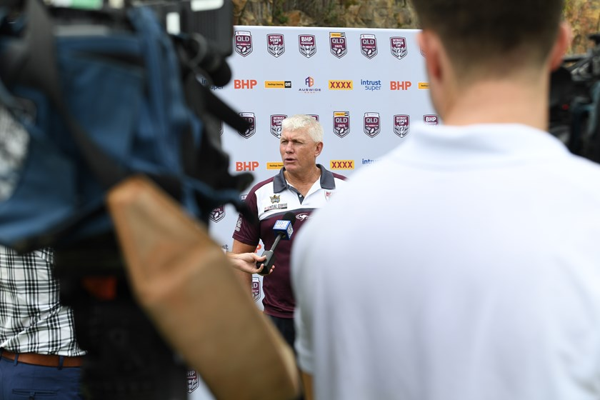 Rick Stone addresses media at the QRL statewide competitions launch. Photo: Scott Davis / QRL