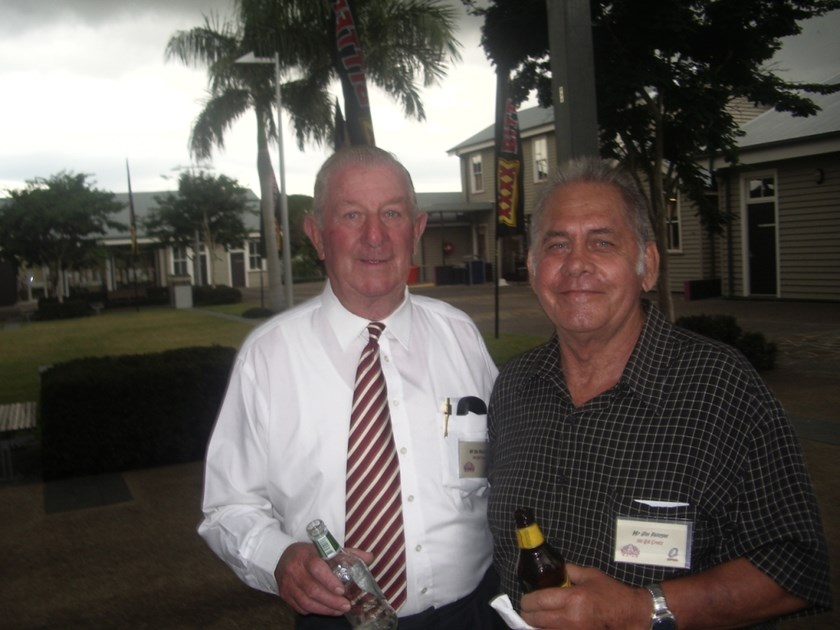 Former Queensland and Australian team mates Jim Paterson and Des McGovern at the 2008 Cemetery of League celebrations in Brisbane.