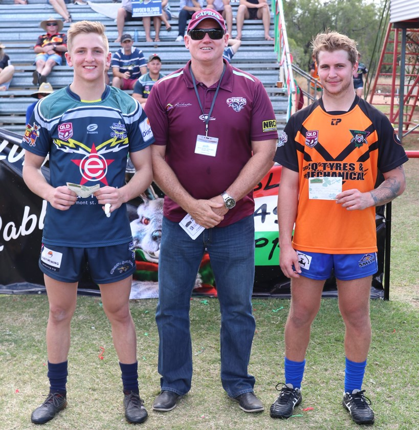 Harrison McIndoe (left) and Sam Cronk (right) with CQ Capras CEO Peter White after last year's Under 20 exhibition match played at the Central Highlands grand final.