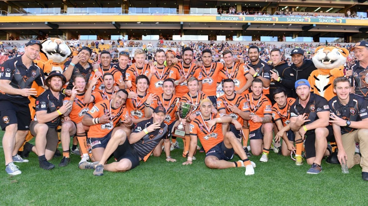 The victorious Easts Tigers FOGS Cup team for season 2014. Photo: SMP Images