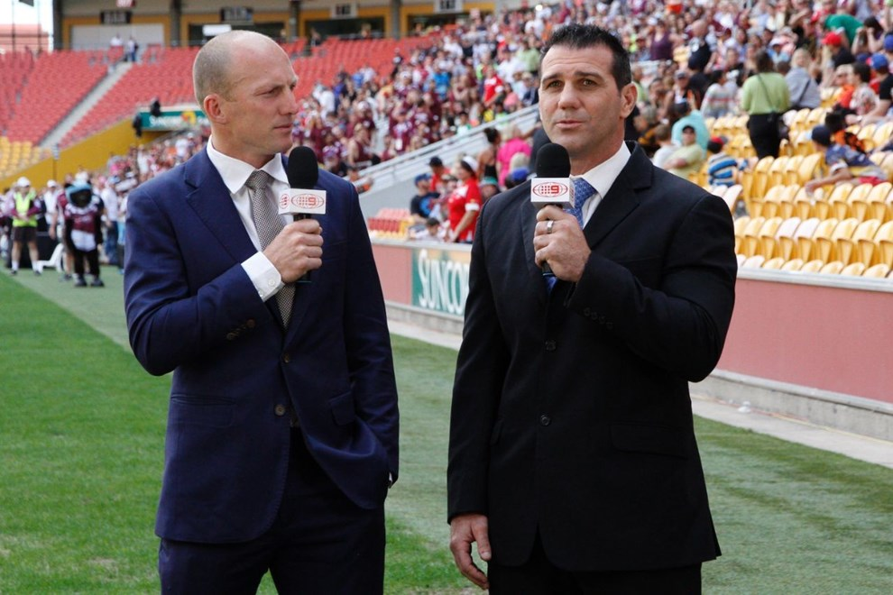 DARREN LOCKYER AND SCOTT SATTLER- PHOTO; KYLIE COX - WWW.SMPIMAGES.COM - QRL INTRUST SUPER CUP GRAND FINAL - NORTHERN PRIDE VS EASTS TIGERS AT SUNCORP STADIUM 28th SEPTEMBER 2014. This image is for Editorial Use Only. Any further use or individual sale of the image must be cleared by application to the Manager Sports Media Publishing (SMP Images) PHOTO: KYLIE COX - SMP IMAGES