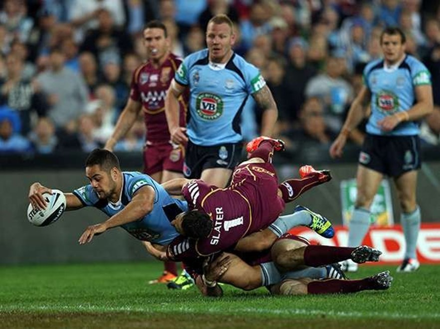 Jarryd Hayne scores a try in the tackle of Billy Slater: Representative Rugby League