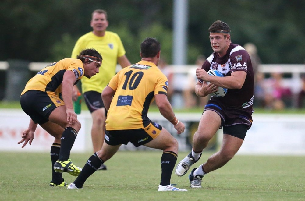 Mitch Sharp - Intrust Super Cup Round 3 - Burleigh Bears V Sunshine Coast Falcons at Pizzey Park, Burleigh. 4.00pm Saturday March 21, 2015.  PHOTO: SMP IMAGES.COM
