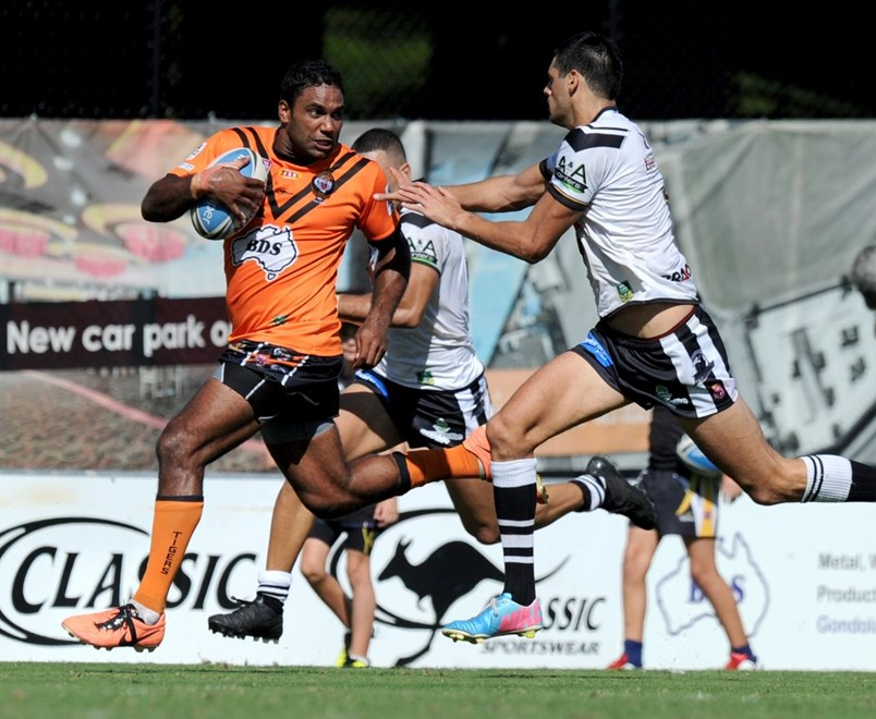 Donald Malone - Intrust Super Cup Round 5 - Easts Tigers V Souths Logan Magpies at Tapout Energy Stadium, Coorparoo. 1.40pm Sunday April 5, 2015.  PHOTO: Scott Davis - SMP IMAGES.COM