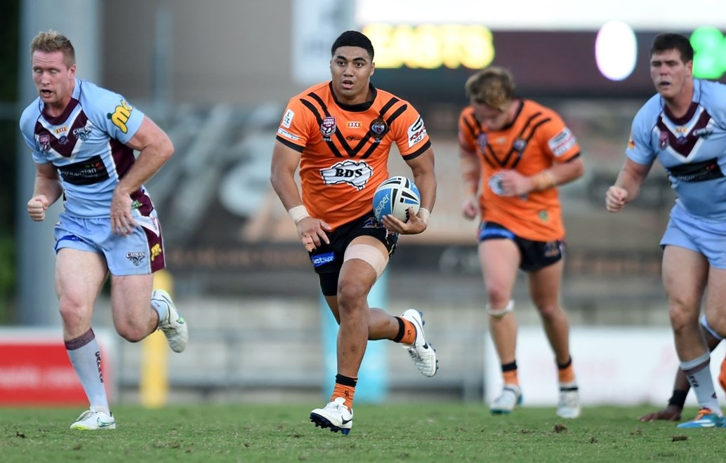 Eddie Tautali - Intrust Super Cup Round 7 - Easts Tigers V Central QLD Capras at Tapout Energy Stadium, Coorparoo. 4.30pm Saturday April 18, 2015.  PHOTO: Scott Davis - SMP IMAGES.COM