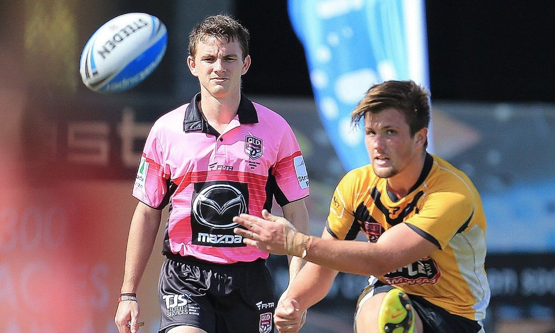 AARON GEDDES - REFEREE - 2015 CYRIL CONNELL CUP FINAL - TOWNSVILLE STINGERS v SUNSHINE COAST FALCNS - PHOTO: SMPIMAGES.COM/QRL MEDIA. 3rd march 2015,  played at Langlands Park, Brisbane. Photo:SMPIMAGES.COM / QRL Media