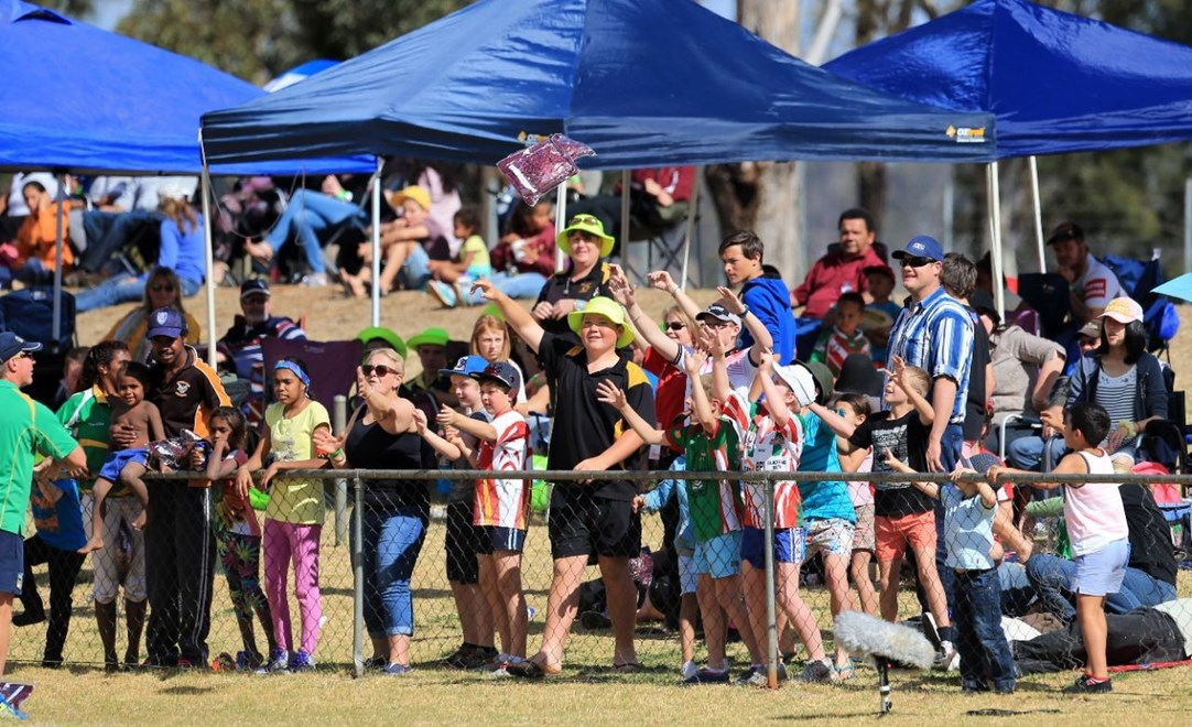 Fans enjoy the Get in the Game Country Week match at Kingaroy's TJ O'Neill Oval.