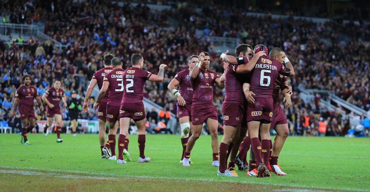 (QUEENSLAND MAROONS) - PHOTO: SMP IMAGES/QRL MEDIA - 8th July 2015 - Action from game 3 of the 2015 National Rugby League (NRL)  State of Origin clash between the Queensland Maroons v NSW Blues, played at Suncorp Stadium, Brisbane, Australia.
