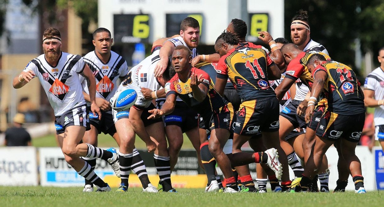 Wartovo Puara - Intrust Super Cup Round 1 - Souths Logan Magpies V PNG Hunters at Davies Park, West End. 2.00pm Sunday March 8, 2015.  PHOTO: SMP IMAGES.COM