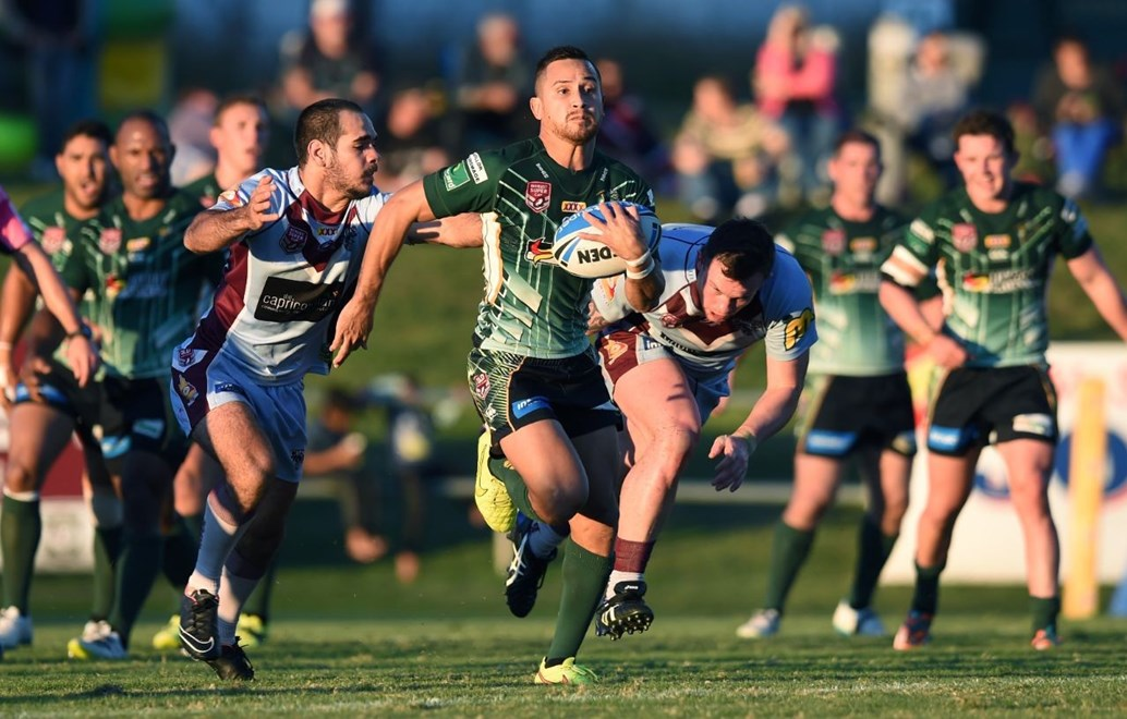 Marmin Barba - Intrust Super Cup Round 15 - Ipswich Jets V Central QLD Capras at North Ipswich Reserve, Ipswich. 4.00pm Saturday June 20, 2015.  PHOTO: Scott Davis - SMP IMAGES.COM