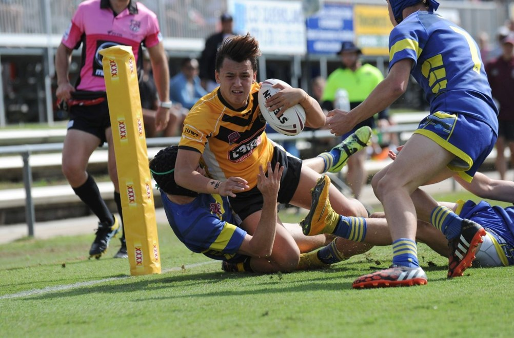 U16 Cyril Connell Cup State Final - Sunshine Coast Falcons V Townsville Stingers at Tapout Energy Stadium, Coorparoo. 10.00am Sunday May 3, 2015.    PHOTO: SMP IMAGES.COM