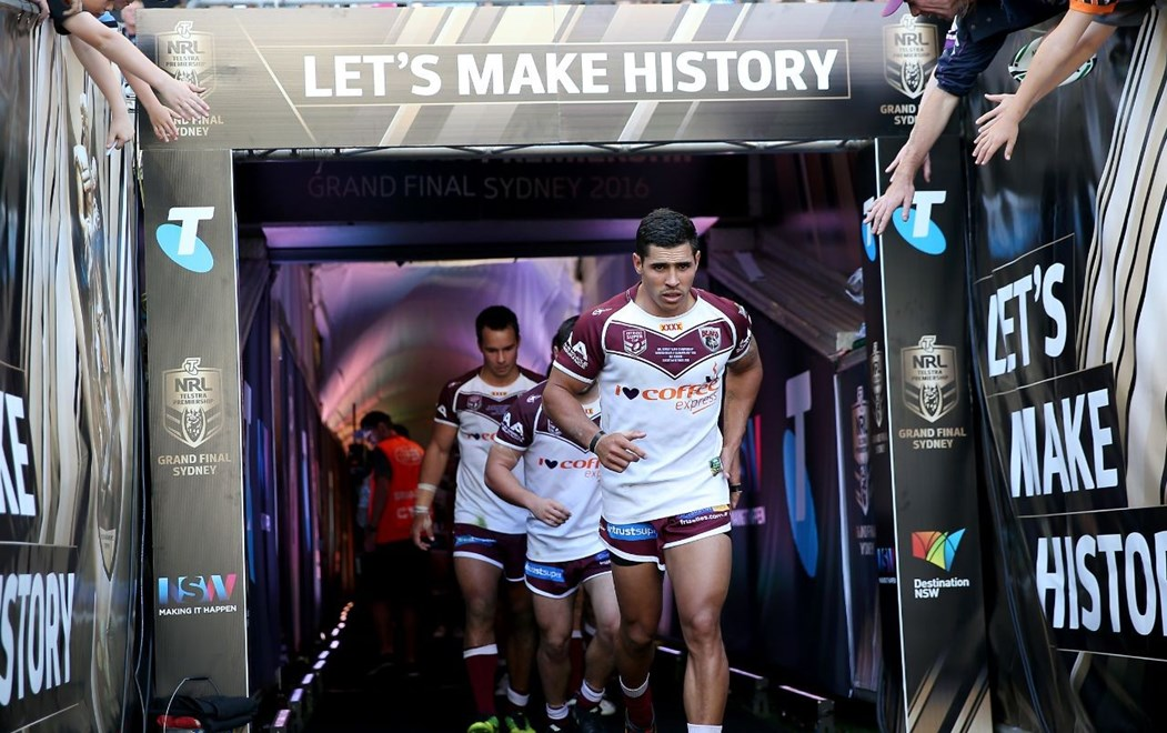 Jamal Fogarty leads out the Bears - Intrust Super Championship: Burleigh Bears V Illawarra Cutters at ANZ Stadium, Sydney. 3.40pm Sunday October 2, 2016.  PHOTO: Shane Myers © NRL Photo
