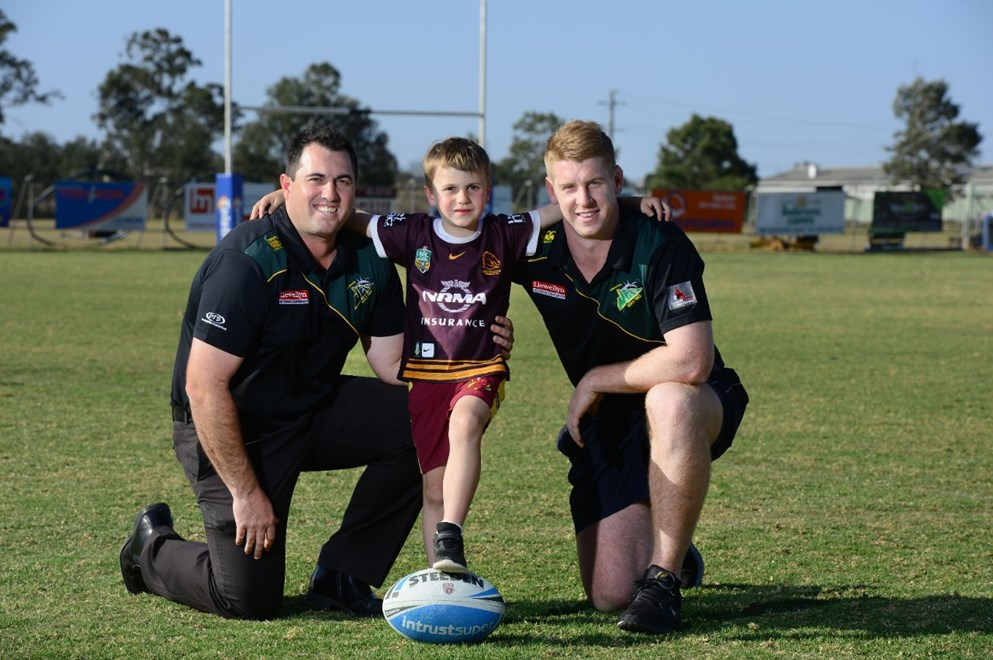 Ipswich Jets CEO Jason Cubit and player Mitch Carpenter are excited to be playing their Queensland Cup match in Gatton next weekend. Hunter Cubit , 5, will also be playing in a junior match on the day.
