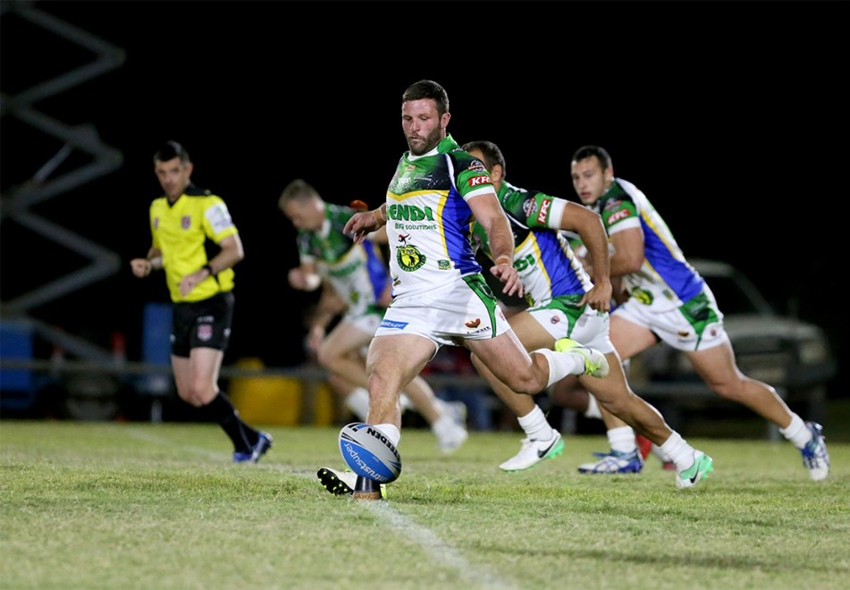 Blake Leary kicks off - Intrust Super Cup Round 20 - Ipswich Jets v Townsville Blackhawks at Eric Lenton Memorial Recreation Ground, Winton. 7pm, Saturday, July 22, 2017.